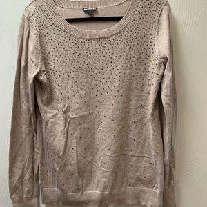 Express tan colored sweater w/gunmetal rhinestones